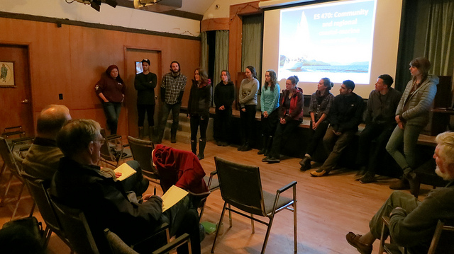 Students presenting their project ideas at a community meeting on Saturna Island, hosted by the Saturna Island Marine Research and Education Society